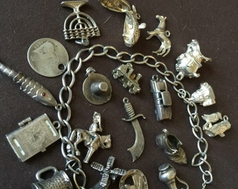 Vintage Sterling Silver Charm Bracelet with Charms