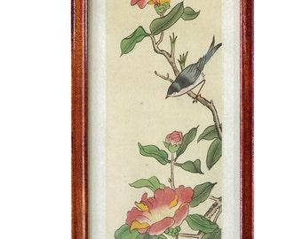 Oriental Painting On Silk Bird In Tree Antique Vintage