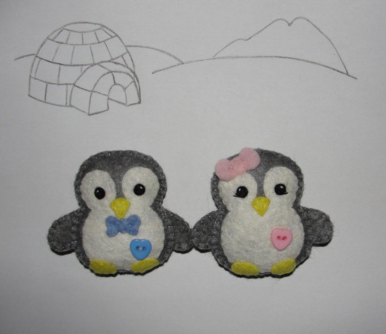 Felt Penguin Ornament Felt Grey Penguin Set Of 2 By