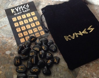 Black Agate Rune Stones, Crystal Divination Runes, Stone Set with Pouch & Symbol Sheet, Oracle