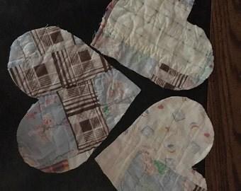 Large vintage quilt heart appliques