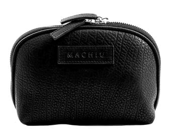 Large black make-up wallet-womens cosmetic bag-best quality leather cosmetic pouch