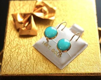 Turquoise Drop Earrings,14k Gold Earrings,Turquoise Gemstone,TurquoiseJewelry,Gold Earrings,gift for her,solid gold earrings,Turquoise stone