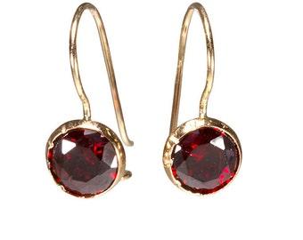 Real Gold Earrings, Red Earrings, Granite Drop Earrings, Gold Earrings, Gold Drop Earrings, 14k Gold Earrings, cubic zircon, Gold Jewelry