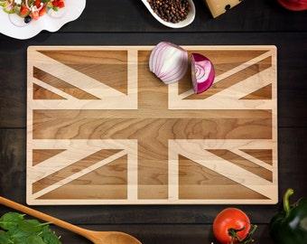 Rustic Home Decor British Flag Cutting Board Union Jack Flag Wood Chopping Block UK Wedding Housewarming Gift Military Laser Engraved