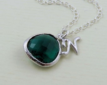 Emerald Necklace, Green Glass Necklace, Initial Necklace, Emerald Glass, Silver Emerald Jewelry, Silver Initial Jewelry, Bridesmaid Necklace
