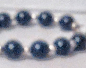 Large Black Bead and Silver Bracelet