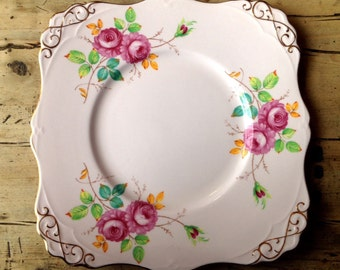 Tuscan Fine English Bone China plate, vintage plate, pink plate