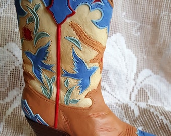 Cowboy Boot collectible medium miniature Shoe collector detailed cowboy boot Wild west style