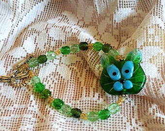 Sweet Kitty Cat bracelet lampwork and Czech Glass St. Patty Day green