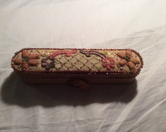 Antique Victorian ring box, silk, beads, sequins, ribbon work, excellent