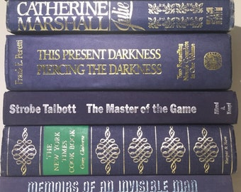 Navy Blue books, Set of 6 Blue and Gold  books, Books by Color, Instant Library, Stack of Navy Blue Books, Dark Blue Books