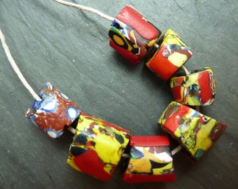 Antique African Millefiori Trade Beads - Six Red, One Brown - Very Vintage Venetian Glass