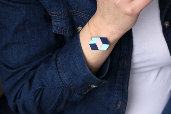 """Leather bracelet """"Checkerboard"""" no2"""