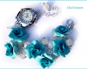 Bracelet Watch. Blue Roses.