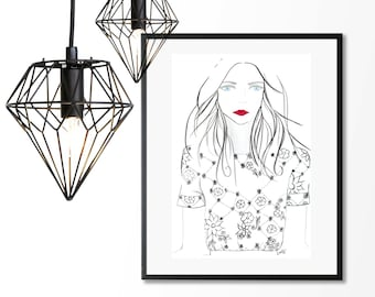 Lacey, A3 Fashion Illustration Giclee Print - original ink and watercolour