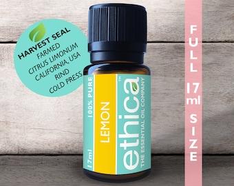 Lemon Essential Oil   Farmed, California USA, Single-Origin, 100% Authentic Citrus Limonum, 17ML