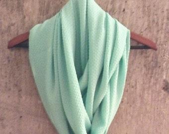 Lightweight aqua infinity scarf
