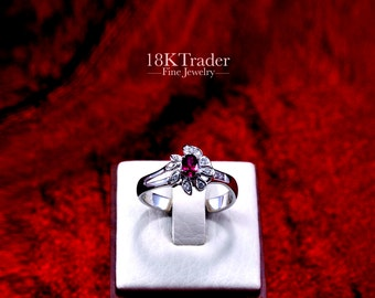 18K palladium white gold Ruby Ring