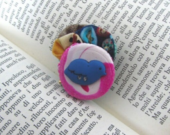Polymer clay Brooch, Wearable art, Rétro Chic Brooch, Custom Jewelry, Vintage Style Brooch, Textile Jewelry, Bohemian Brooch, Boho Glam