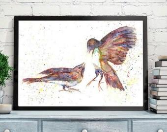 birds Painting,Two birds watercolor painting,love birds painting,couple bird,A pair of birds painting,Lovers,Romantic Print,bird Art Print