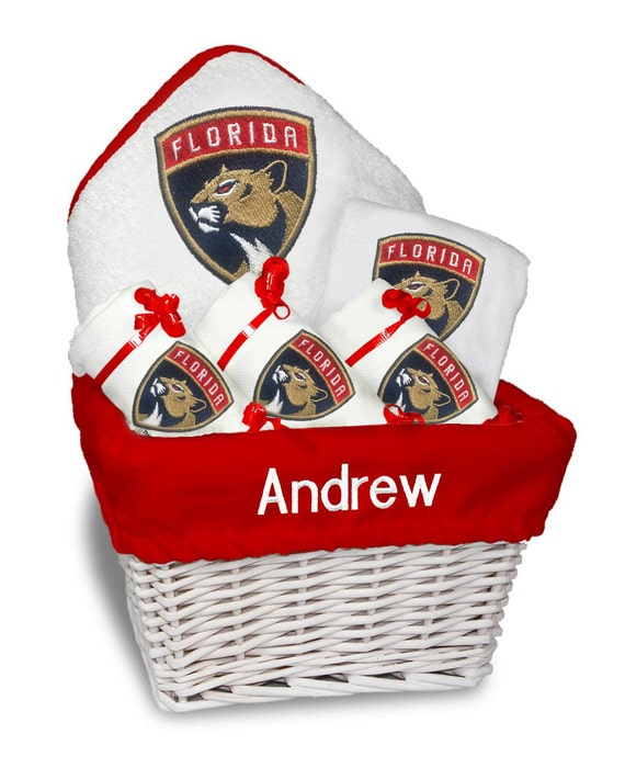 Baby Gift Basket Florida : Personalized florida panthers baby gift basket bib burp