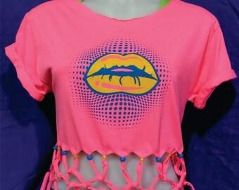 Beaded Fringe Shirt- Fringe top- Lips Shirt-Lip Top-Lip Tee- Pink Fringe Shirt-Graphic Tee-Fashion Lips-Screen Printed-Yellow Lips-
