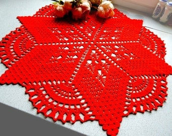 Attractive Crochet Round Table Cloth Lace Table Cloth Circle Table Cloth Side Table  Cloth Red Crochet Table