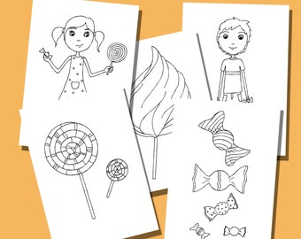 Set of 5 Coloring Pages for Children - Coloring Sheets - Cadies
