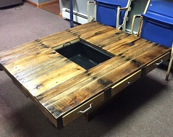 Coffee Table with Cooler in the Middle!
