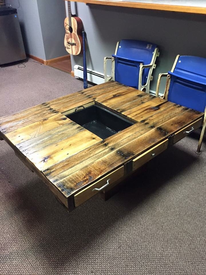 coffee table with cooler in the middle