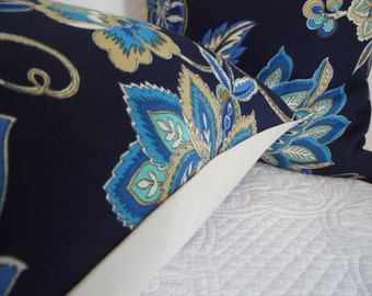 FLORAL Blue Pillow Cover. Grey Pillow Cover. Fall Antique. Indigo, Navy, Light Blue, Cream, Browns, Black, Grey, Red Product ID# P0103,P0101