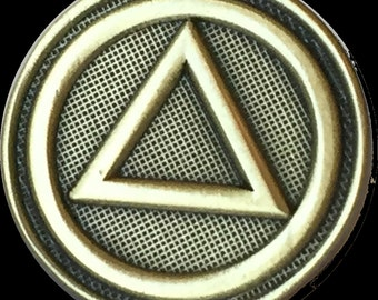 AA Circle Triangle Lapel Pin Alcoholics Anonymous Sobriety Badge Tie Collar Pin