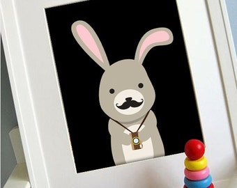 Bunny printable 8x10 children's art, Instant Download Printable Animal Nursery Decor, Children's playroom art