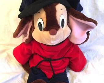 "Large 1986 Fievel Fivel Mouse Plush 22"" An American Tail Big Stuffed Caltoy"