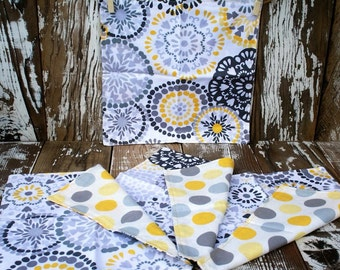Eco-friendly Reusable  Double Sided Yellow and Grey Cloth Napkins- set of 4