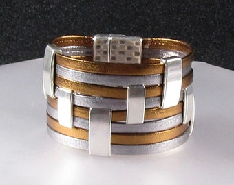 Metallic Leather Cuff in Gold and Pewter