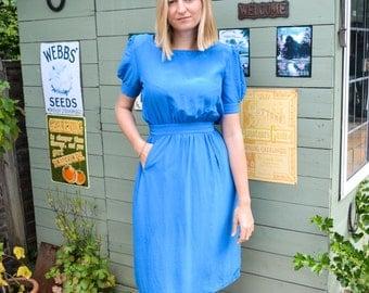 VINTAGE Blue Silk Dress