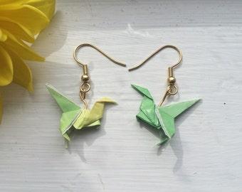 Green Velociraptor Origami Earrings