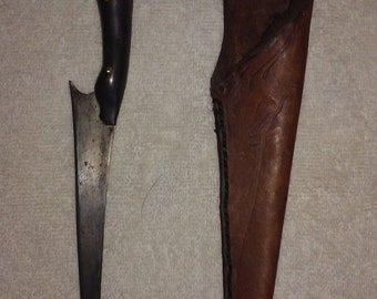 Hand Made Walnut Handled Fillet Knife With Leather Sheath..