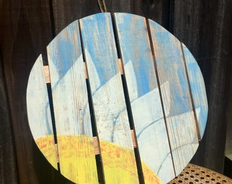 Daisy Days - Wooden Pallet, Hand Painted, Distressed, Wall Art