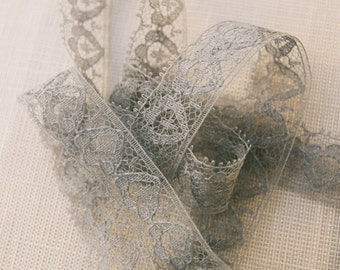"Vintage lace trim, hand dyed pale teal blue lace, 1/2"" wide lace"