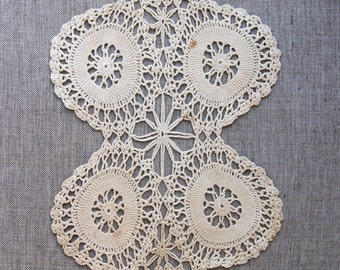 Vintage Crochet Doily, handmade doily, off white cream cotton doily, vintage lace
