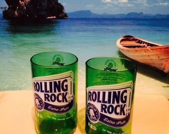 Beer Bottle Drinking Glasses - Rolling Rock Tumblers Set of 2