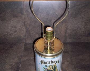 Vintage Hershey's Cocoa Tin Lamp.