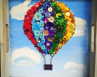Hot Air Balloon - Vintage Button Art