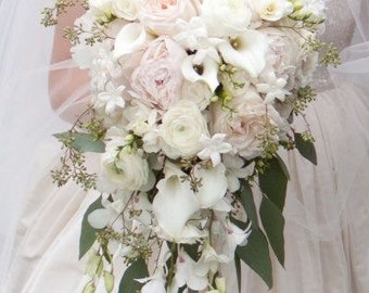 Blush and White Cascading Bridal Bouquet