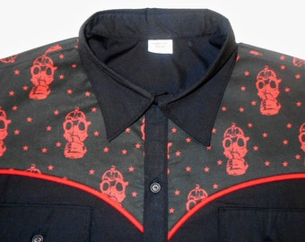 LIMITED EDITION - Gas Mask, Apocalypse , Stars, Western Shirt, Short or Long Sleeve,  Small to 3xl