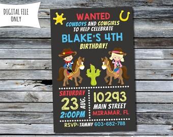 Cowboy Invitation / Cowboy Cowgirl Invitation / Cowboy Birthday Invitation (Personalized) Digital Printable File