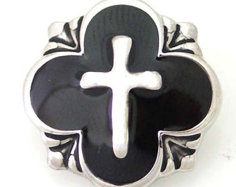 Item# 5080--- 20mm Snap Jewelry Cross w/ Black Background Snap (FREE Shipping Coupon Code in Description)